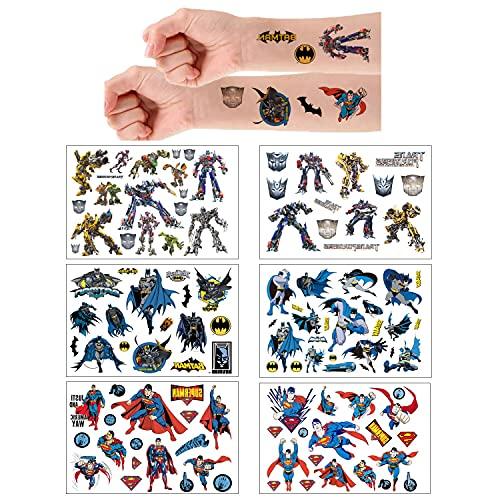 6 Sheets Temporäre Tattoo Set Superman Batman Transformer Temporary gefälschte Tattoos Aufkleber Wasserdicht für Geschenktüten Kindergeburtstag Mitgebsel