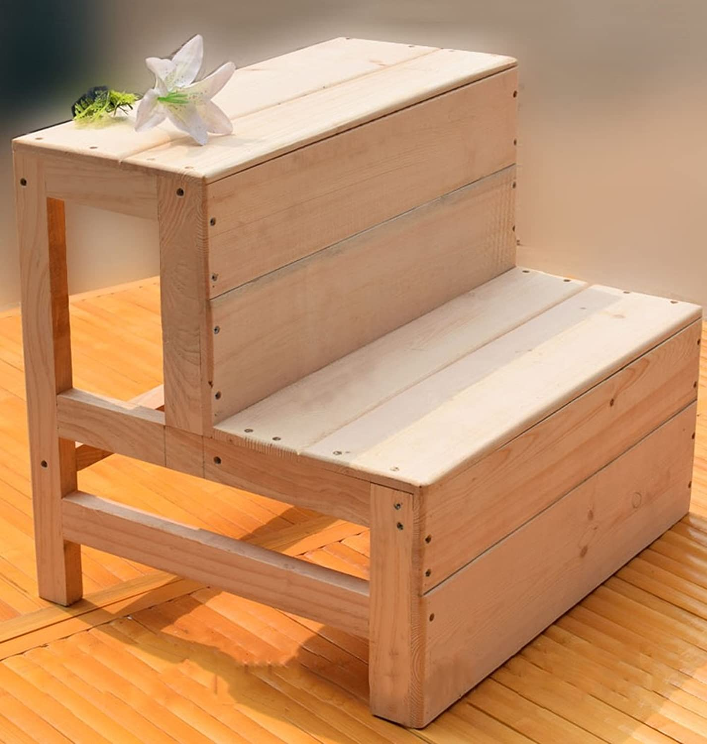 KTYXDE 3-Step Folding Step Stool Home Stairs Wooden Step Stool, Replacement shoes Bench Stool Footstool Flower Stand Step Stool