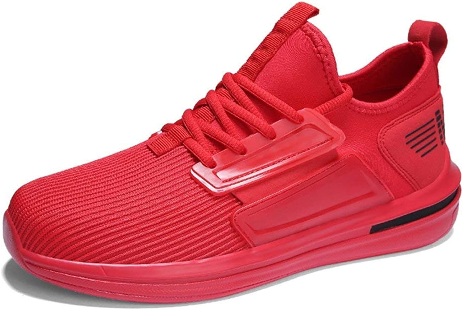 ZHRUI Men Summer Mesh Casual shoes Lace up Sneakers for Male Walking shoes Outdoor Flats Sneakers shoes Men (color   Red B, Size   11.5=47 EU)