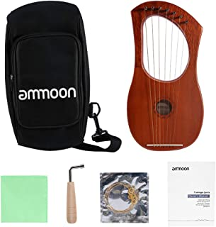 ammoon Lyre Harp 7 Metal String Mahogany Plywood Body String Instrument with Tuning Wrench and Carry Bag