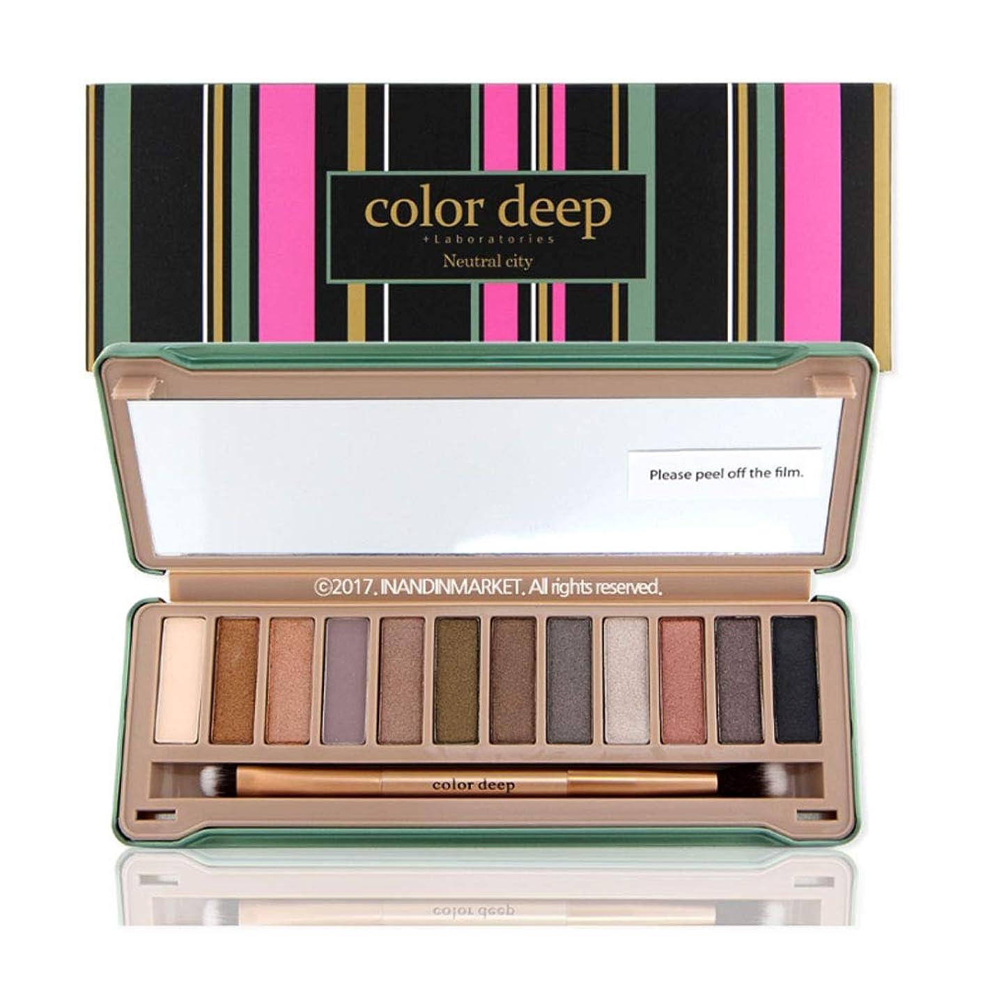 着服強大なカーフColor Deep 12Color Eyeshadow Paletteアイシャドウパレット#Neutral City(並行輸入品)