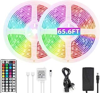 65.6ft RGB LED Strip Lights Ultra-Long Color Changing Light Strip with Remote, 600LEDs Bright 20m LED Lights, DIY Color Op...