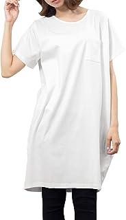 [ミリアンデニ] レディース ワンピース Tシャツ カットソー ショート丈 半袖 ポケット付き