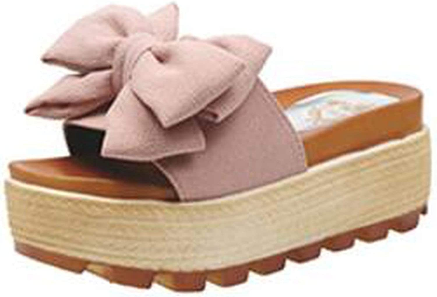 Sweet Bow-Knot Slippers high Heels Creepers Flats Cozy Slides Sandals Anti-Skid Beach shoes