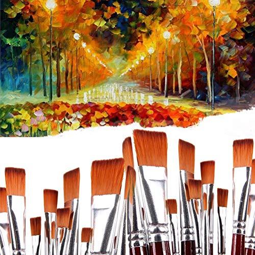 Ensemble de pinceaux, 12 Professional EN NYLON Plat douleurs Pinceaux Artiste Acrylique Brosse pour acrylique aquarelle Huile à ongles visage Peinture
