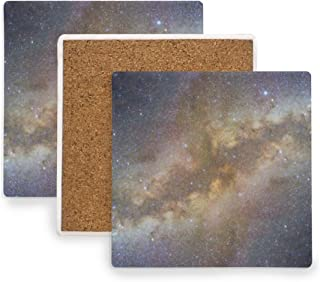Galaxy Stars Space Starry Coasters, Prevent Furniture from Dirty and Scratched, Square Cork Coasters Set Suitable for Kinds of Mugs and Cups, Living Room Decorations Gift Set of 4