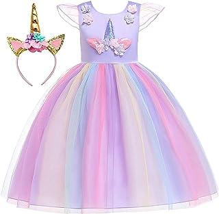 Girls Dress Princess Flower Girls Unicorn Costume Pageant Sleeveless Princess Party Dress Purple