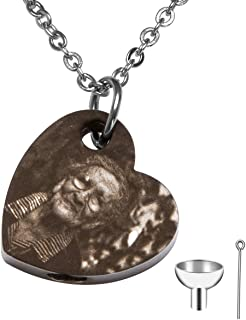 Personalized Custom Engraving Photo & Text Cremation Jewelry Urn Necklace for Ashes Keepsake Memorial Pendant with Funnel Kit