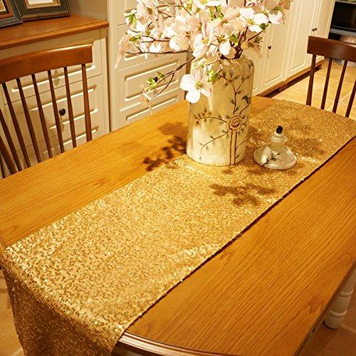 Kesote Pailletten Tischläufer für Hochzeit Party (Gold, 275 x 30 cm)