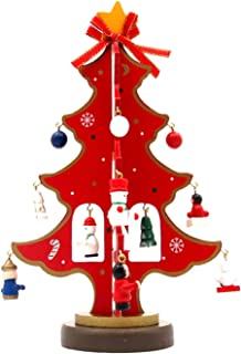 "FEOYA Christmas Tree Decoration Lovely Classic Delicate Festiveal Gift for Christmas, Wood, Red, 15cm*23cm/5.9""*9"""