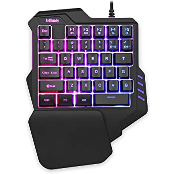 RedThunder One Handed Gaming Keyboard RGB Backlit 35 Keys Portable Mini Gaming Keypad Ergonomic Game Controller for PC PS4 Xbox Gamer