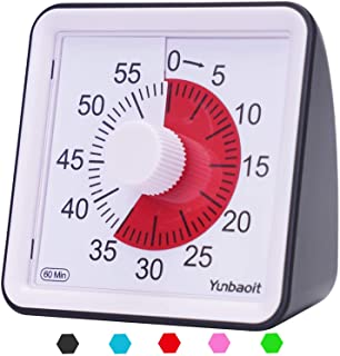 Yunbaoit Visual Analog Timer,Silent Countdown Clock, Time Management Tool for Kids and Adults (Black)