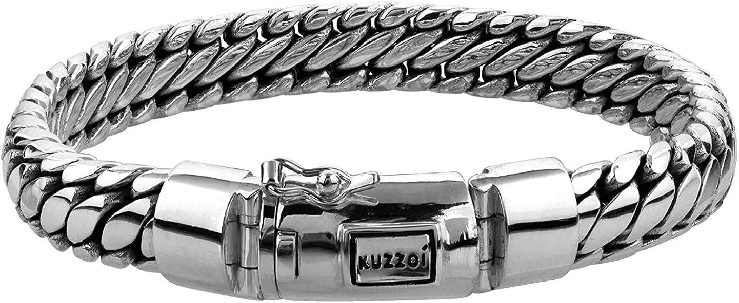 kuzzoi Men Bracelet Curb Cuban Chain massiv online shopping OFFicial Cla Shiny Solid with