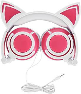 Cat Headphones, OUTOS Rechargeable Cute Cat Ear Headphones with LED Flashing Glowing Lights Fold-able Over Ear Cos-Play Fancy Headsets for iPhone, PC, Laptop, MP3, MP4 and Android Phone(Pink)