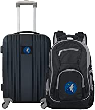 """Denco Minnesota Timberwolves 2-Piece Luggage Set, Includes 21-inch Two-Tone Hardcase Spinner and 19"""" Laptop Backpack"""