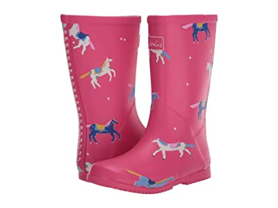 Joules Kids Roll Up Welly (Toddler/Little Kid/Big Kid) (Pink Horses) Girl