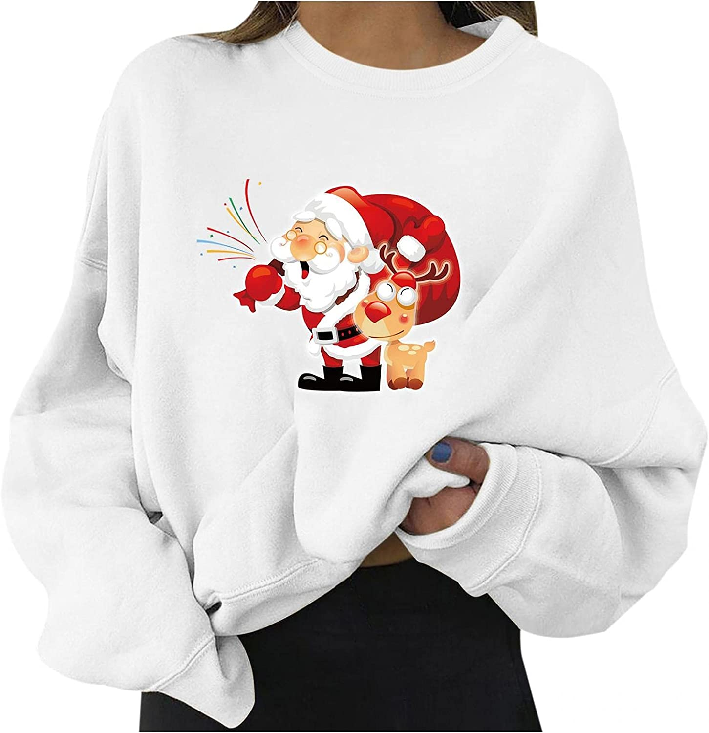 CHYOUU Sweatshirts for Women,Christmas Sweater Crew Neck Pullover Snowmen Reindeer Themed for Office Holiday Sweater Party