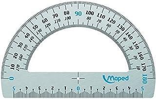 Maped - Rapporteur 180° Base 12 cm - Rapporteur de Traçage pour Mesure d'Angle 180 Degrés en Aluminium Résistant et Durable