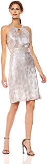 NINE WEST Women's Metallic Crinkle Dress W/Shirred Waist and Neckline Cutout
