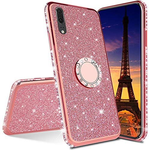Asdsinforu Funda para Huawei P Smart 2020 de lujo con purpurina de lujo con diamantes de silicona TPU suave con soporte de anillo para Huawei P Smart 2020 chapado en TPU en oro rosa KDL