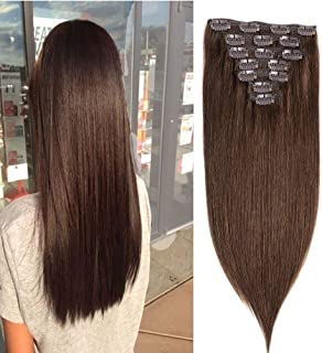 "14""Clip in Hair Extensions Human Hair Clip on Remy Hair Extensions for Woman Straight"