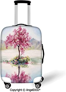 AngelDOU Durable Elastic Suitcase Luggage Protective Cover Country Decor Image of Blooming Japanese Cherry Tree Sakura on the Lake Soft Romantic Culture Work Multi Trolley Dust Rain Bags Accessories.