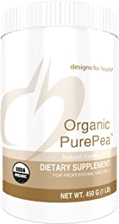 Designs for Health Organic PurePea - Vanilla Pea Protein Powder with 20g Vegan Protein, Organic + Non-GMO (15 Servings / 450g)