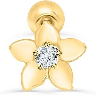 14K Solid Gold 5mm Jewelry Cz Star Snowflake Constellation Flower Ear Studs Post Ball Earring Piercing For Women Sensitive Ears