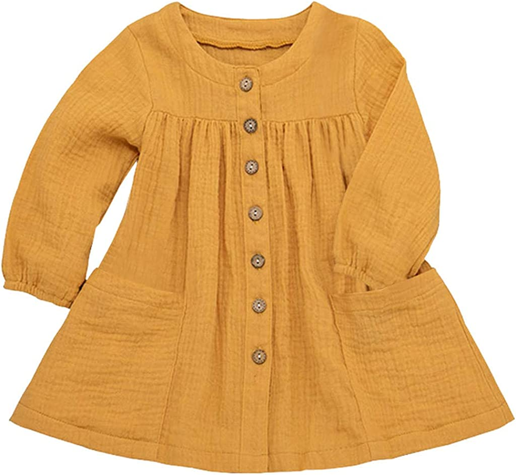 Toddler Girl Long Sleeve Dress Kids Girls Solid Color Ruffled Casual Dress Clothing for Holiday