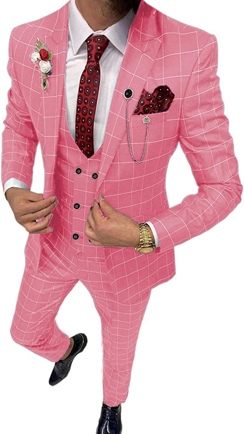 Aimicui Business Men's Suits Slim Fits 3 Piece Double Breasted Breathable TR Plaid Thin Prom Tuxedos Blazer Wedding Grooms