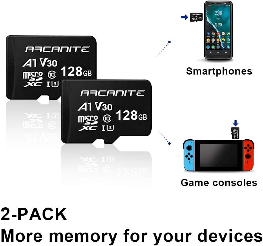 ARCANITE 2 Pack 128GB microSDXC Memory Card - A1, UHS-I U3, V30, 4K, C10, MicroSD, Optimal Read speeds up to 90 MB/s