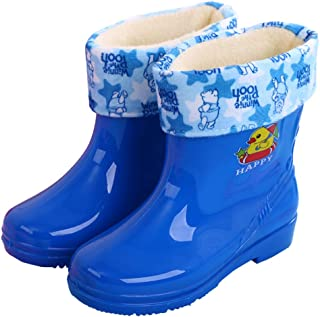 VECJUNIA Boys Girls Rain Boots Cartoon Prints Pull On Shoes