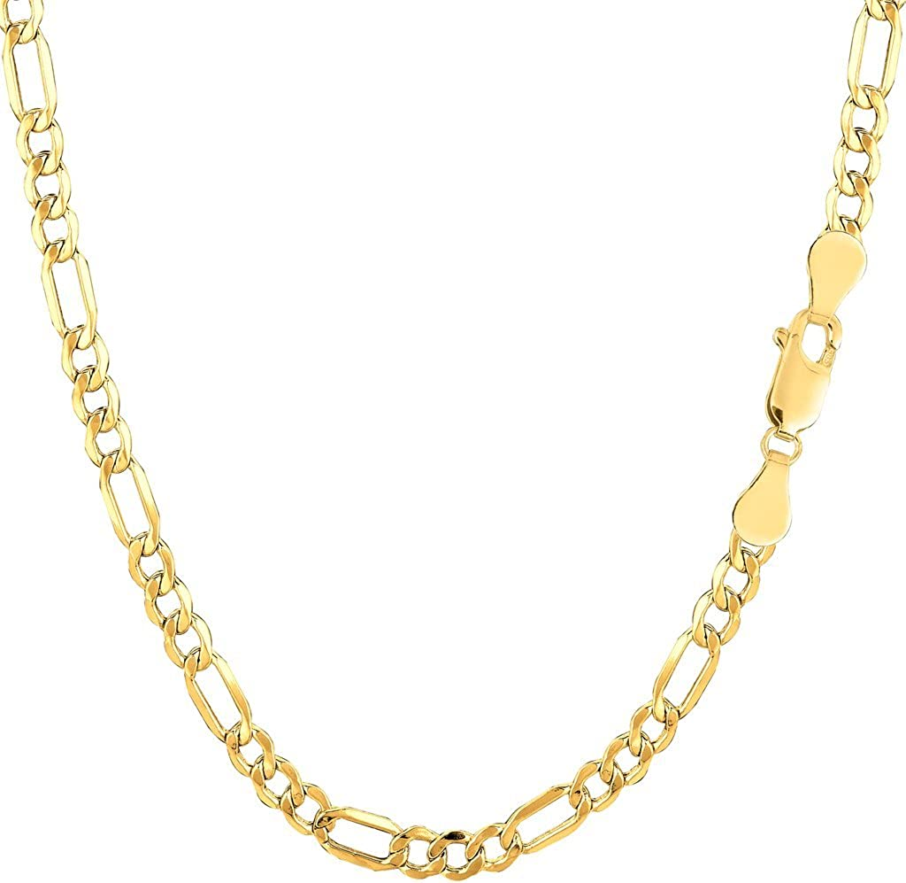 14k REAL Yellow Gold 3.5mm Shiny Diamond-Cut Alternate Classic Mens Hollow Figaro Chain Necklace for Pendants and Charms with Lobster-Claw Clasp (18