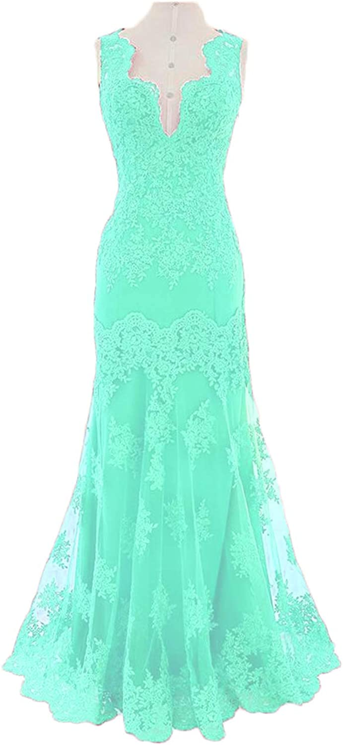 Alilith.Z Sexy V Neck Prom Dresses Mermaid 2019 Appliques Lace Long Formal Evening Dresses Party Gowns for Women
