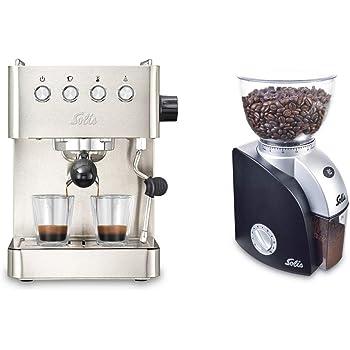 Solis Barista Gran Gusto 1014 - Set Cafetera expresso automática + Molinillo de café - 1 o 2 tazas - Máquina de café ...