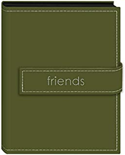 """Pioneer Photo Albums 36-Pocket 4 by 6-Inch Embroidered """"Friends"""" Strap Sewn Leatherette Cover Photo Album, Mini, Sage Green"""
