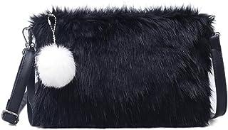 BeeChamp Women Faux Fur Black Envelope Clutch Fluffy Crossbody Shoulder Bag Evening Handbag Purse