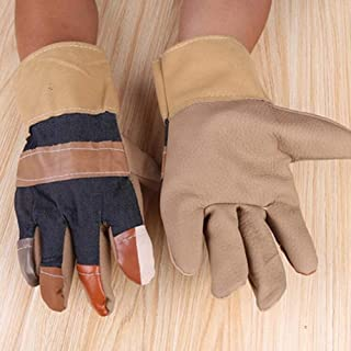 FJFSC Cow Split Leather Men's Work Gloves with Safety Cuff (Size L, Brown)