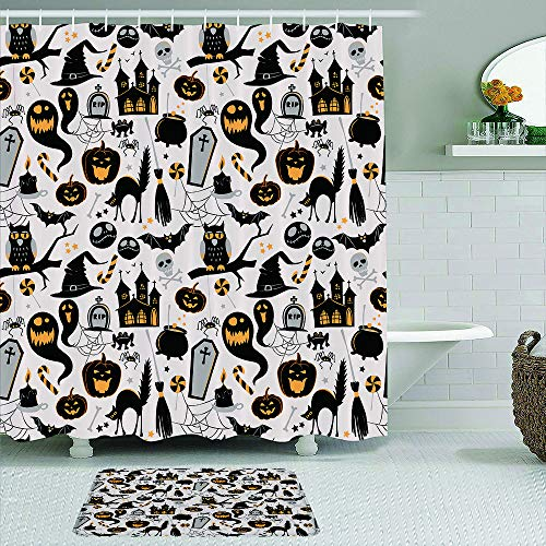 Fabric Shower Curtain and Mats Set,Ghosts Coffins Scary Cats Pumpkins Bats Owls,Waterproof Bath Curtains with 12 Hooks,Non Slip Rugs