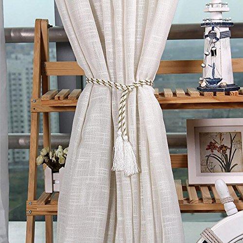 Vankra 1 paire de sangles de rideau à nouer avec pompon en corde pour salon, chambre à coucher, décoration de maison (blanc)