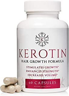 Kerotin Hair Growth Vitamins for Natural Longer, Stronger, Healthier Hair - Hair Loss Supplement Enriched with Biotin, Fol...