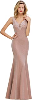 MisShow Sparkly V Neck Lace Applique Long Mermaid Formal Evening Prom Dress for Women