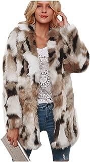 Dawwoti Women's Faux Fur Long Peacoat Warm Long Sleeve Casual Chunky Peacoat for Winter New Year