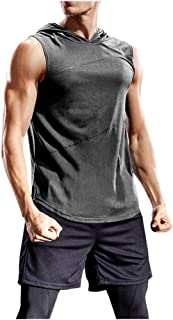 17 Mens Tank Tops Polyester Blend Fitness Solid Casual Sleeveless Hooded T-Shirt Slim Fit Breathable Vest EAZsyn8
