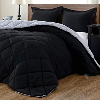 downluxe Lightweight Solid Comforter Set (King) with 2 Pillow Shams - 3-Piece Set - Black and Grey - Down Alternative Reversible Comforter