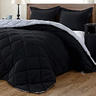 downluxe Lightweight Solid Comforter Set (Queen) with 2 Pillow Shams - 3-Piece Set - Black and Grey - Down Alternative Rev...