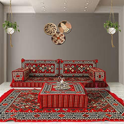 Conjunto de sofá de piso estilo árabe majlis asientos bohemios muebles banco cojines puf kilim alfombra / SHI_SRP2100