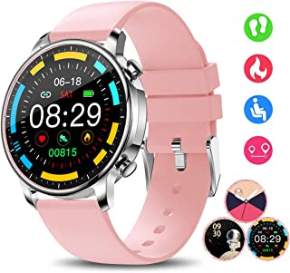 Smart Watch for Women, Smartwatches with Heart Rate Sleep Monitor All-Day Activity Fitness Tracker Calories Steps Counter Music Remote Camera Control Customize Dial IP67 Smart Watch (Pink)