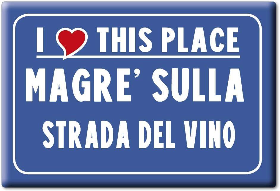 Enjoymagnets MAGRE' Sulla Strada del Vino Souvenir IMANES DE Nevera Trentino Alto Adige IMAN Fridge Magnet Corazon I Love (VAR. CARTELLO)