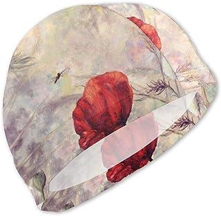 Dragonlfy Flower Stem Pattern Swim Caps Niños Impermeable Comfogorro de baño rtable